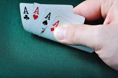 four aces in casino  - stock photo