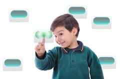 Little cute child pressing digital buttons Stock Illustration
