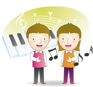 Kids singing songs Stock Illustration