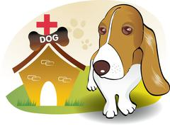 Dog and house - stock illustration