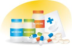 Pills and capsules in a medical container Stock Illustration