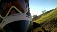 POV MOTORCYCLE MOTOCROSS RIDER WIDE ANGLE FACING HELMET WHILE RIDING FAST Stock Footage
