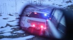 Police lights in mirror, flashing lights Stock Footage