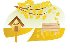 Romantic rural scenery - stock illustration