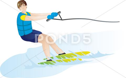 Stock Illustration of man skiing on water
