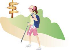 Young woman climbing Stock Illustration