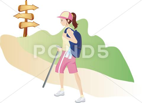 Stock Illustration of Young woman climbing