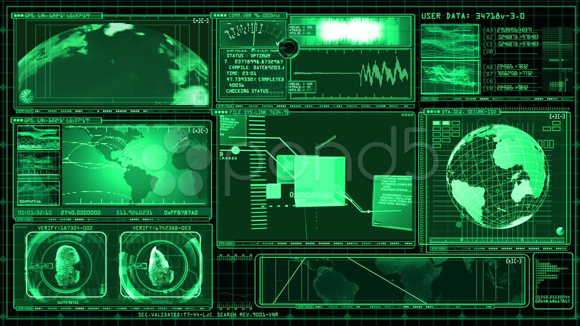 Technology Interface Computer Data Screen Animation Stock ...