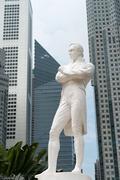 Sir raffles statue, singapore Stock Photos