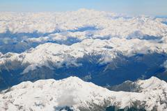 landscape of southern alpine alps with mount cook peak from top view - stock photo