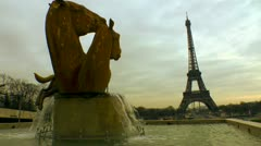 Horse Statue Fountain Eiffel Tower Stock Footage