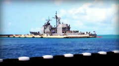 Navy Destroyer One tilt shift Stock Footage
