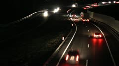 Cars lights at night Stock Footage