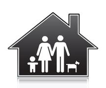 Family in a house, symbol - illutration Stock Illustration