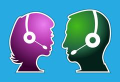 man and woman as a call centre staff - illustration - stock illustration