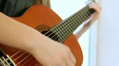 Teen Girl Playing Guitar Stock Footage