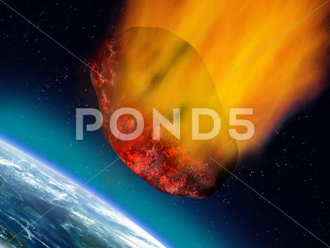 Stock Illustration of plummeting asteroid