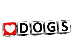 3d i love dogs button block text on white background - stock illustration