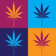 Four cannabis leaf illustration in popart Stock Illustration