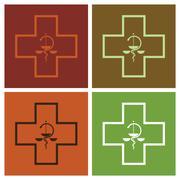 Medical symbol cross in pop-art style - illustration Stock Illustration