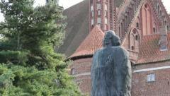 Statue of Nicolaus Copernicus - Cathedral Hill, Frombork, Poland Stock Footage
