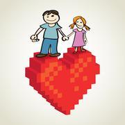 children standing on the pixel heart - illustration - stock illustration