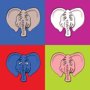 Stock Illustration of funny elephant head in popart style - illustration