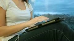 Girl Using Digital Tablet Stock Footage