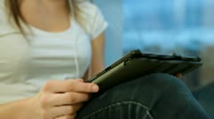 Female Hand With Digital Tablet Stock Footage