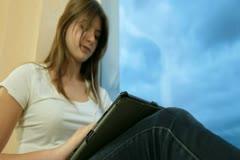 Teenager Girl Listening Music On Digital Tablet Stock Footage