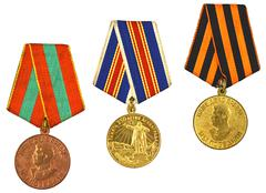 three medals for bravery - stock photo