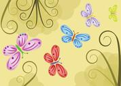Background with color butterflies - illustration Stock Illustration