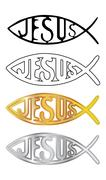 White, black, silver and gold christian fish symbol - illustration Stock Illustration