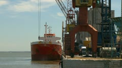 Ship moving load in harbor Time lapse Stock Footage