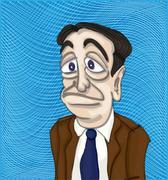 Sad man in a suit Stock Illustration