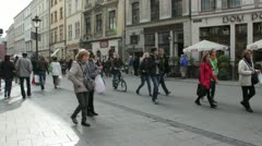 Cracow, Poland - tourists in the old town. Stock Footage