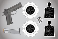 gun, ammo and targets - illustration - stock illustration