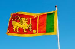 sri lanka flag on flagstaff. - stock photo