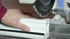 Window Profile Cutting Machine Stock Footage