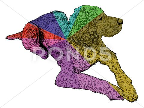Stock Illustration of isolated colored hunt dog - illustration