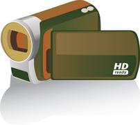 brown colored hd camcorder - illustration - stock illustration