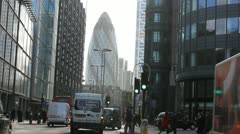 Stock Video Footage of The Gherkin in the City of London