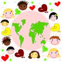 Map of the world , faces of children of different races and hearts Stock Illustration