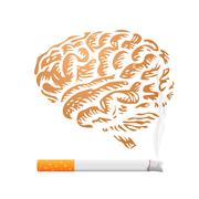 Cigarette and human brain background - illustration Stock Illustration