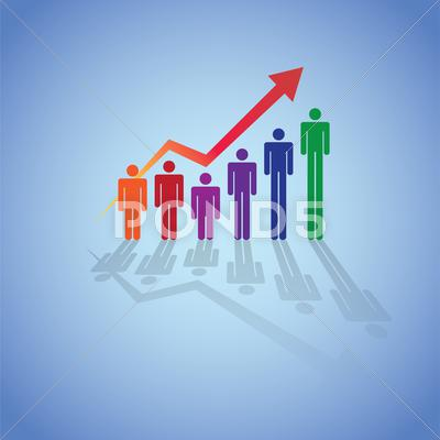 Stock Illustration of grownin people in graph concept, illustration