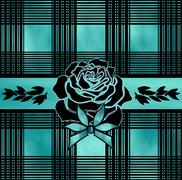 Pattern and a rose turquoise - stock illustration