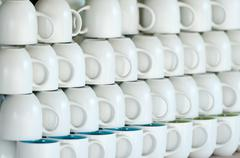 shop counter with white cups lines - stock photo