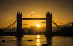 sunrise at tower bridge - stock photo