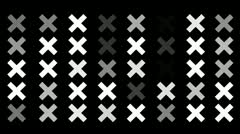A Flickering Background of a Set of X Icons on a Black Screen Stock Footage