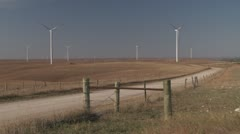 Windfarm road with truck - stock footage